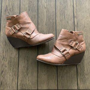 Brown wedge bootie